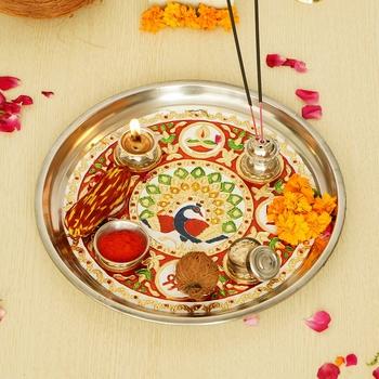 Handcrafted Decorative Golden Pooja Thali with Meenakari Work 2 Holders 1 Agarbatti Stand and 1 Diya