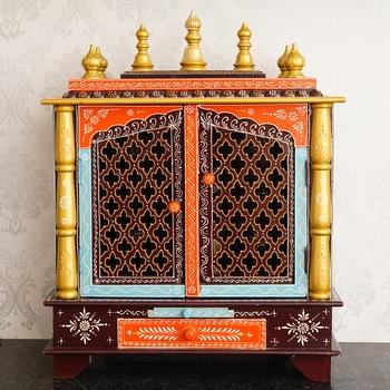 Multicolor Mango Wood multicolor Pooja Temple/Mandir with Door and Storage Option