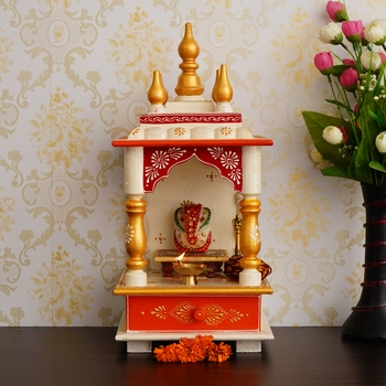 White Red and Golden Mango Wood Pooja Temple/Mandir with Storage Option