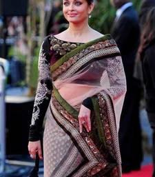 Buy beige embroidered net saree with blouse aishwarya-rai-saree online
