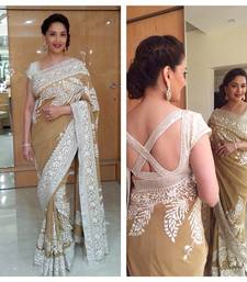 Buy beige embroidered georgette saree with blouse madhuri-dixit-saree online