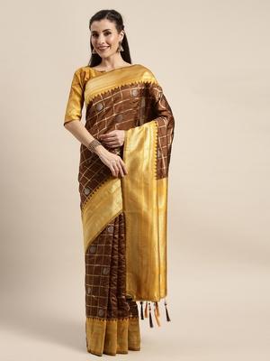 Brown Color Banarasi Silk Wedding Saree With Blouse Piece