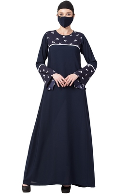 Musheco-Abaya With Printed Yoke And Sleeves