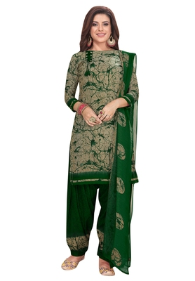 Salwar Studio Women's Beige & Green Synthetic Printed Unstitch Dress Material with Dupatta