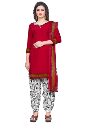 Salwar Studio Women's Red & White Synthetic Printed Unstitch Dress Material with Dupatta