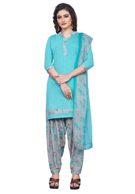 Salwar Studio Women's Aqua Blue & Grey Synthetic Printed Unstitch Dress Material with Dupatta