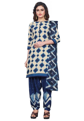 Salwar Studio Women's Beige & Dark Blue Synthetic Printed Unstitch Dress Material with Dupatta