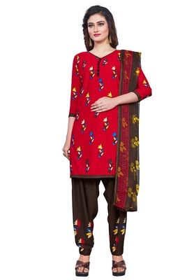 Salwar Studio Women's Red & Brown Synthetic Printed Unstitch Dress Material with Dupatta
