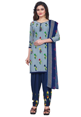 Salwar Studio Women's Grey & Blue Synthetic Printed Unstitch Dress Material with Dupatta