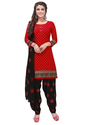 Salwar Studio Women's Red & Black Synthetic Printed Unstitch Dress Material with Dupatta