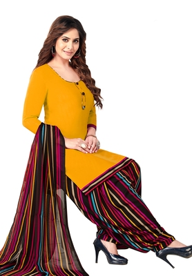 Salwar Studio Women's Yellow & Black Synthetic Printed Unstitch Dress Material with Dupatta