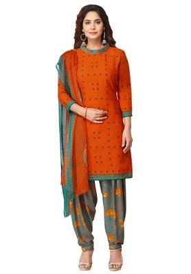 Salwar Studio Women's Orange & Grey Synthetic Printed Unstitch Dress Material with Dupatta