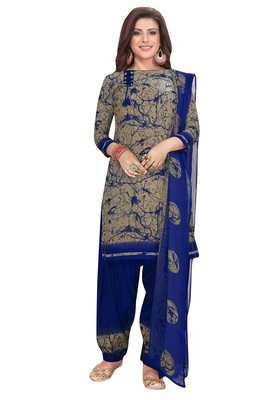 Salwar Studio Women's Beige & Blue Synthetic Printed Unstitch Dress Material with Dupatta