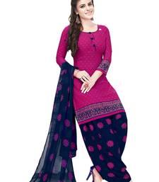 Salwar Studio Women's Pink & Dark Blue Synthetic Printed Unstitch Dress Material with Dupatta