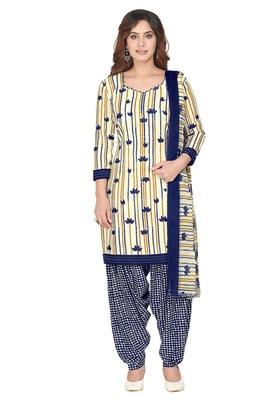 Salwar Studio Women's Cream & Dark Blue Synthetic Printed Unstitch Dress Material with Dupatta