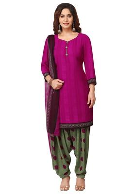 Salwar Studio Women's Magenta & Green Synthetic Printed Unstitch Dress Material with Dupatta