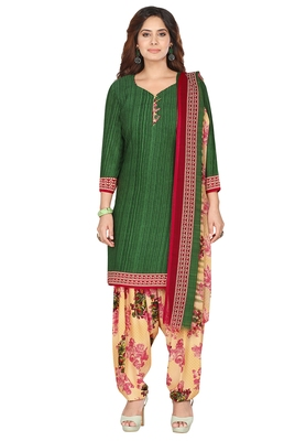 Salwar Studio Women's Green & Beige Synthetic Printed Unstitch Dress Material with Dupatta