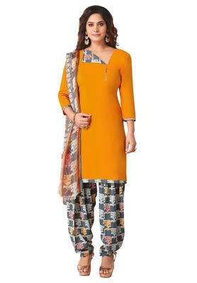 Salwar Studio Women's Mustard & Grey Synthetic Printed Unstitch Dress Material with Dupatta