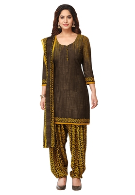 Salwar Studio Women's Brown & Yellow Synthetic Printed Unstitch Dress Material with Dupatta