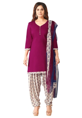 Salwar Studio Women's Wine & White Synthetic Printed Unstitch Dress Material with Dupatta