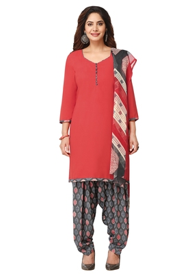 Salwar Studio Women's Coral Red & Grey Synthetic Printed Unstitch Dress Material with Dupatta