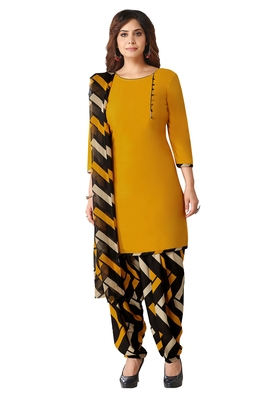 Salwar Studio Women's Mustard & Black Synthetic Printed Unstitch Dress Material with Dupatta