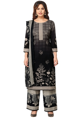Salwar Studio Women's Black & Beieg Synthetic Printed Unstitch Dress Material with Dupatta