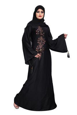 Khadija fashion purple color embroidered burqa and diamond's lace sleeve's siez L,XL,XXL