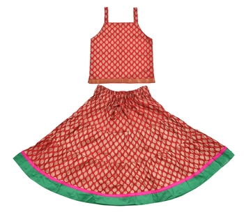 DIAMO Girls' Jaipuri Rajasthani Hand Block Print Ethnic Wear Pure Cotton Lehenga Choli(Skirt & Top)