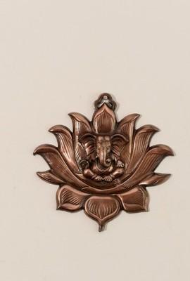 Metal Wall Hanging of Lord Ganesha on Lotus
