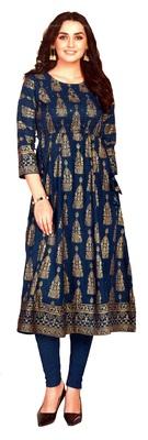 MAHATI blue Gold foil printed silk ethnic-kurtis