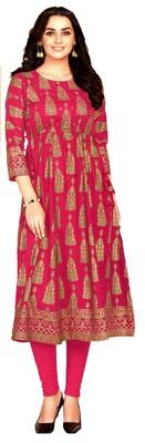 MAHATI pink Gold foil printed silk ethnic-kurtis