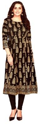 MAHATI black Gold foil printed silk ethnic-kurtis