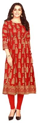 MAHATI red Gold foil printed silk ethnic-kurtis