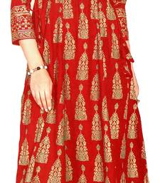 MAHATI red Gold foil printed silk ethnic-kurtis