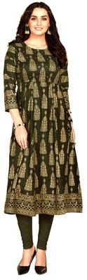 MAHATI green Gold foil printed silk ethnic-kurtis