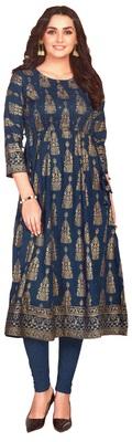MAHATI teal Gold foil printed silk ethnic-kurtis