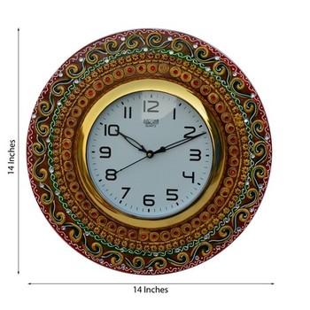 Papier-Mache Kundan Studded Wall Clock
