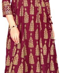 MAHATI purple Gold foil printed silk ethnic-kurtis