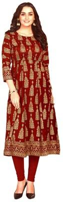 MAHATI maroon Gold foil printed silk ethnic-kurtis