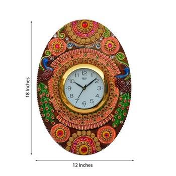 Papier-Mache Oval Kundan Studded Wall Clock