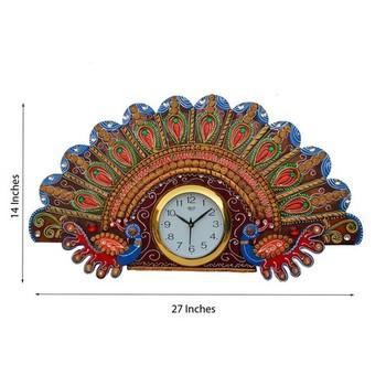 Papier-Mache Peacock Design Wall Clock