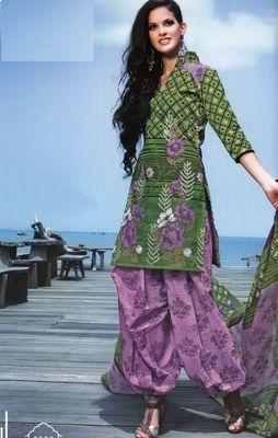 Elegant Cotton Dress Material With Chiffon Dupatta Unstitched Salwar Suit D.No 3027