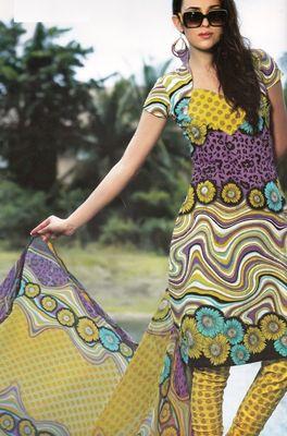Elegant Cotton Dress Material With Chiffon Dupatta Unstitched Salwar Suit D.No 3029