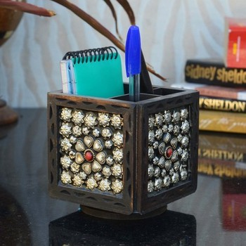 Ornate Wooden Pen Stand