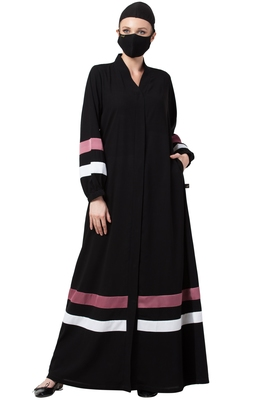 Musheco-Front Open Abaya With Contrast Stripes