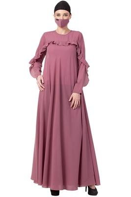 Musheco-Modest Dress With Ruffles