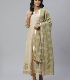 Pinksky Beige woven cotton diwali-kurtis