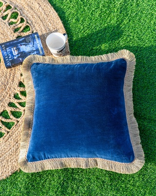 BLUE DECORATIVE VELVET CUSHION COVER with LACE