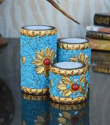 Buy Set of 3 Blue Tea Light Holder candle online